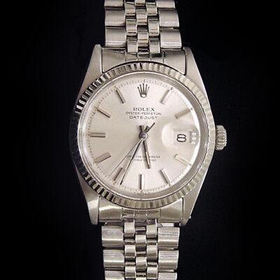 Rolex Datejust Stainless Steel 18K White Gold Watch Silver Jubilee Bracelet  1601 717449286307