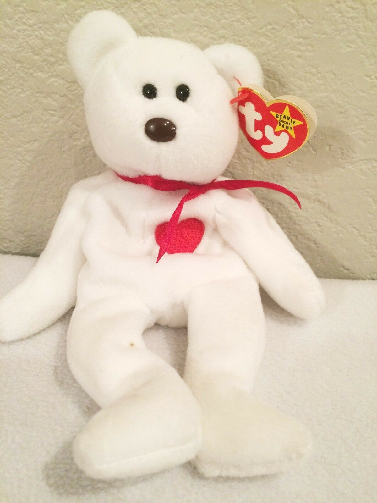 Valentino White BearTY original beanie baby RETIRED Errors misprints  1994 Rare