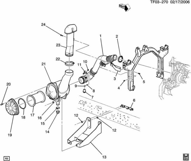 04 09 Gmc Chevy Tilt Cab Air Inlet Intake Box Filter P533930 T6500
