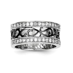.925 Sterling Silver CZ Black Filigree Design Ring 56VISEhb-09164000-292102237