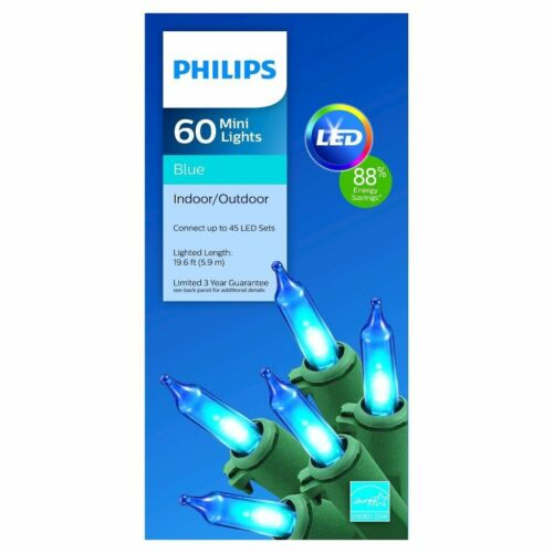 New 60ct Philips Blue LED Lights with Green Wire Indoor outdoor 88/% Energy Save