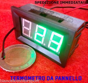 TERMOMETRO-DIGITALE-DA-PANNELLO-LED-VERDE-30-70-DC-auto-moto-car-audio-hifi