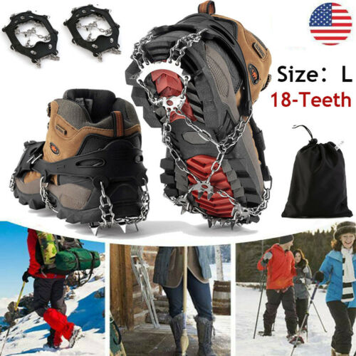 New Crampons Ice Cleats For Shoes//Boots Male Size Large Ice Snow Winter Spikes L