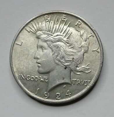 AU 1924 Peace Silver Dollar Almost Uncirculated