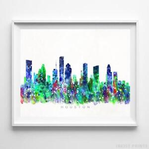 Image Is Loading Houston Texas Watercolor Skyline Wall Art Home Decor