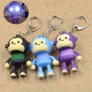 Cute-Monkey-Keychain-With-LED-Light-and-Sound-Key-Ring-Bag-Wallet-Keyfob-Kawai