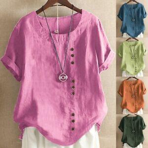 Mujer-Cuello-en-O-Mangas-Cortas-Algodon-Lino-Camiseta-blusa-top-suelta-informal-Ceng