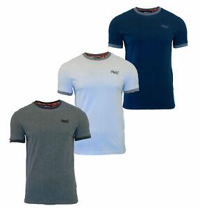 Superdry-Mens-New-Crew-Neck-Short-Sleeve-Ringer-T-Shirt-White-Navy-Grey