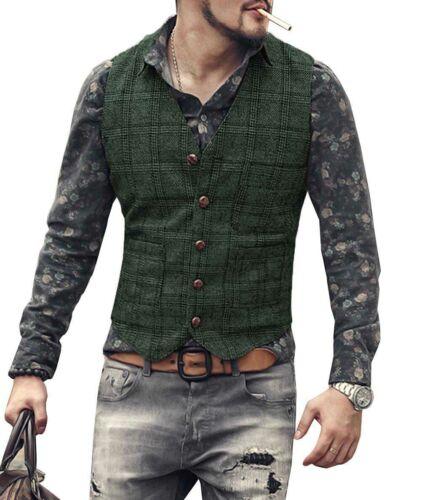 Homme Tweed Gilet Viniforme Vestes Laine Herringbone Retro Col-V Mince S-XL-3XL+