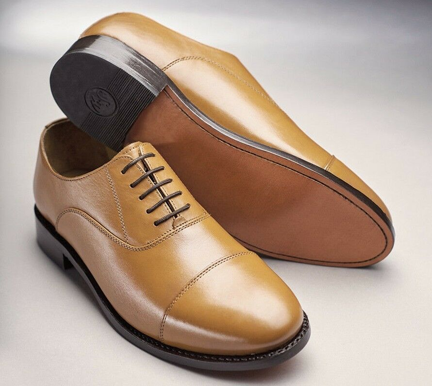 Samuel Windsor Tan Oxford shoes Classic Leather Lace-up Round Toe Leather Sole