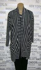 OPHILIA: Lagenlook Long-Cardigan Jacke schwarz offwhite Streifen-Optik 50 52 54