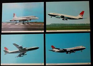 3780 4x Postcards Boeing 747 707 Concorde Aircraft British Airways Airlines