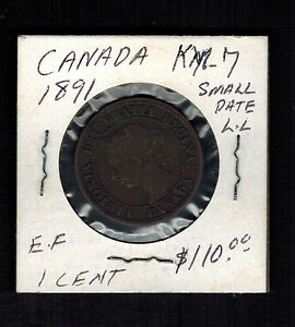 1891-Canada-One-Cent-large-Penny-coin-KM-7-small-date-LL