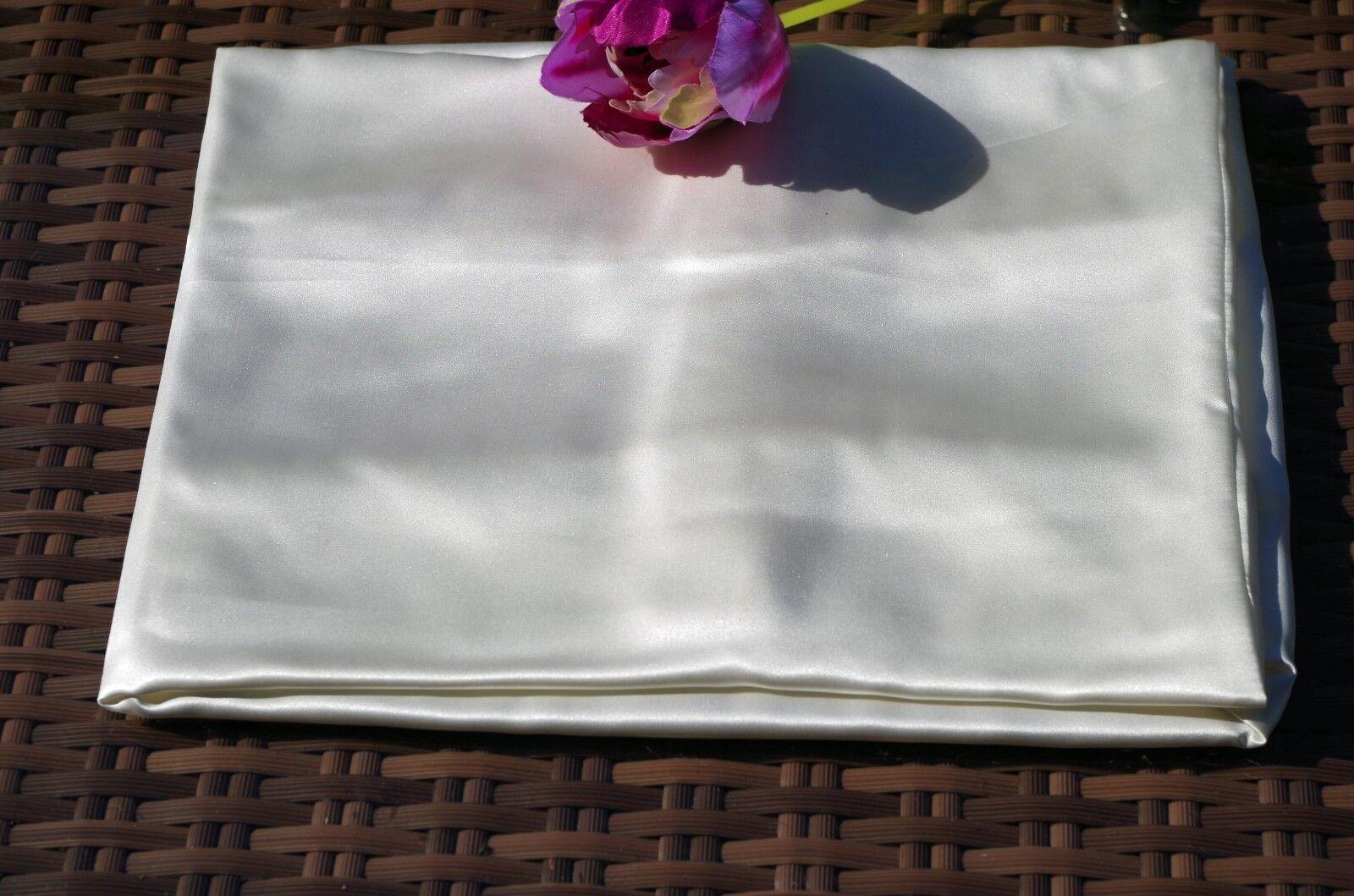1A Seidenbettwäsche Bettwäsche Seide SATIN 155x220 80x80cm natur weiß
