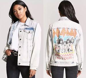 ade0cc318bd Def Leppard graphic acid wash denim jean jacket blazer women s size ...