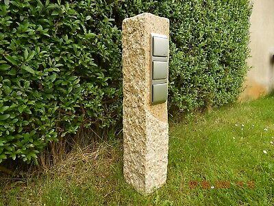 Gartensteckdose Granit gespitzt gelb  Außensteckdose Steckdosensäule Gartendeko