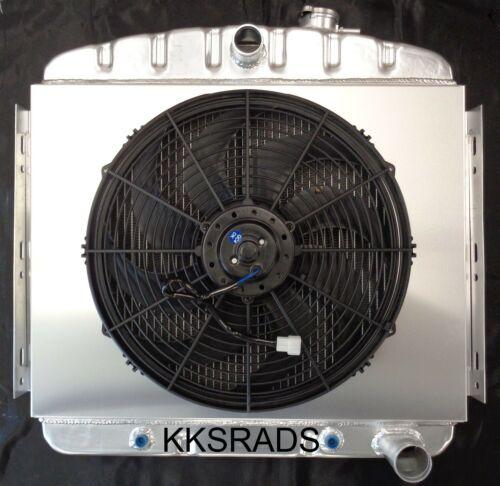 "KKS 3 ROW ALUMINUM RADIATOR SHROUD /& 16/"" FAN 55 56 CHEVY BEL AIR 6CYL CORE SUPP"