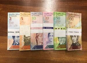 VENEZUELA 6 PCS X 100 SETS 2-100 BOLIVARES 2007-2015 P-88 89 90 91 92 93 UNC