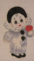 Completed Simplicity Crewel Wool Clown With Red Heart Circus - Jca 9 X 11