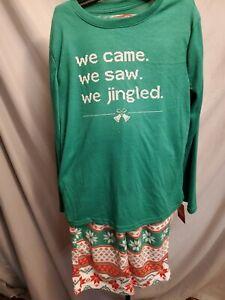 BOYS SIZE 6 WE CAME WE SAW WE JINGLED CHRISTMAS GREEN 2 PC PAJAMAS NEW #19492
