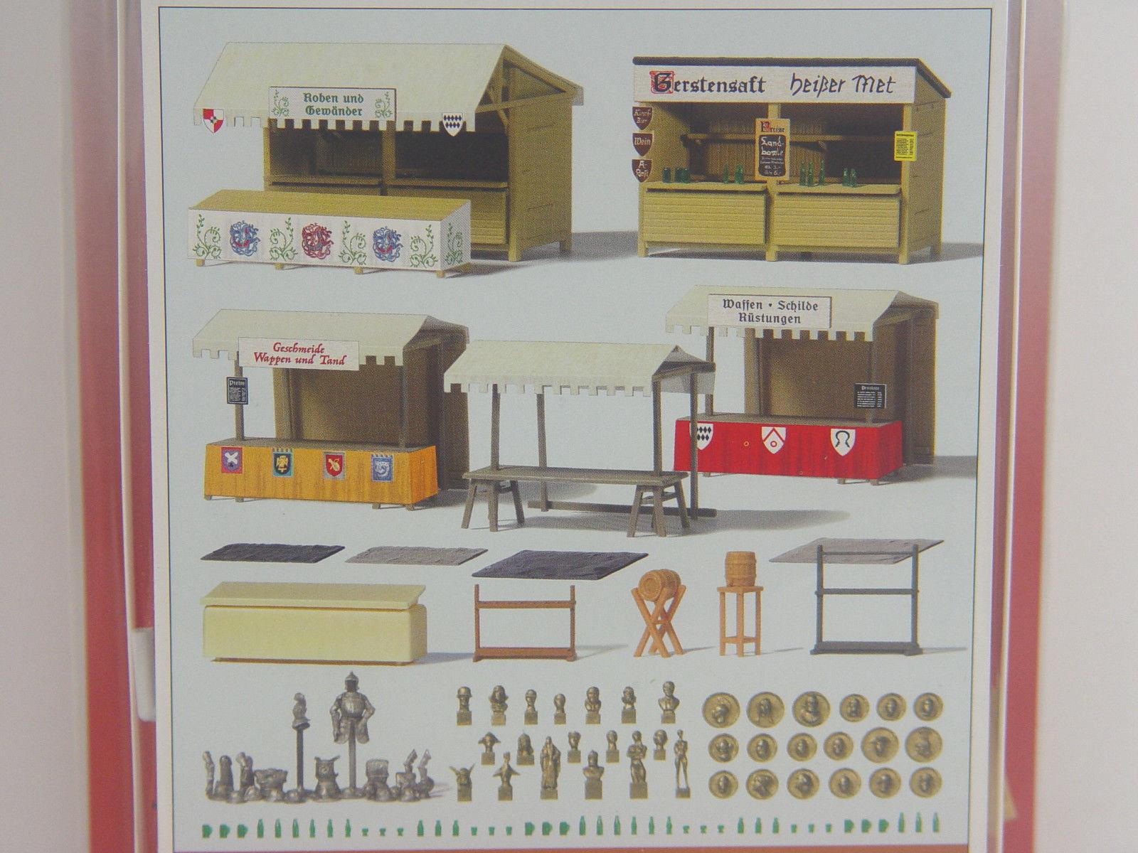 Medioevo mercato STAND U. ACCESSORI Preiser HO KIT 1:87 - 17216   E