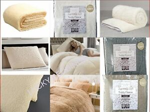 Fleece Duvet Cover Set Fitted Sheet Teddy Warm Cozy