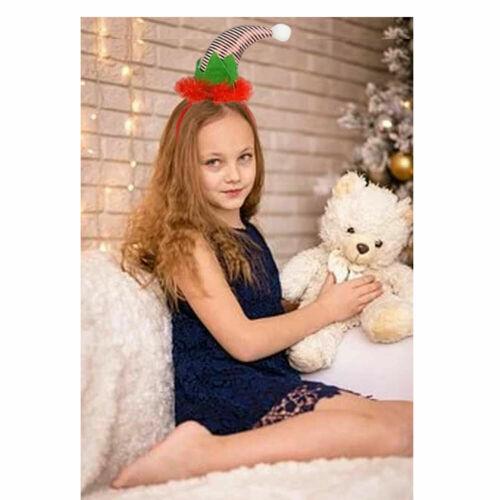 Red White Striped ELF HAT HEADBAND CHRISTMAS Fancy Dress Costume Accessory UK