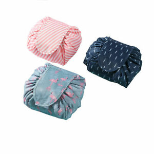 Portable-Women-Makeup-Drawstring-Pouch-Bucket-Barrel-Shaped-Travel-Case-Bag