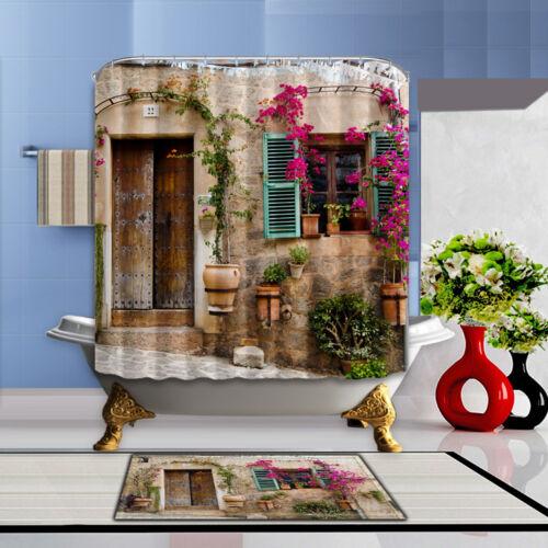 "72/"" Italy Flower House Scenery Bathroom Polyester Fabric Shower Curtain 12Hooks"