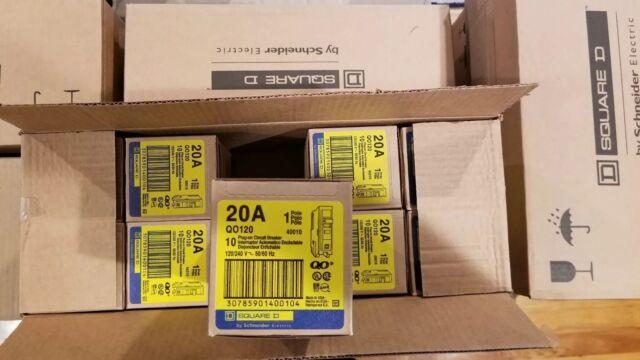 """BOX OF 10 SQUARE D QO120 NEW PLUG-IN CIRCUIT BREAKER 20A 1 POLE 120 VAC 3//4/"""""""