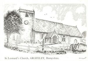 Art-Sketch-Postcard-St-Leonards-Church-Grateley-Hampshire-by-Don-Vincent-AS1