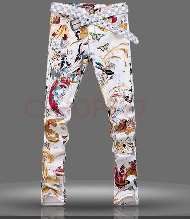 Mens Printed Floral Slim Fit Korean Style Denim Pant Trouser Nightclub Casual  s
