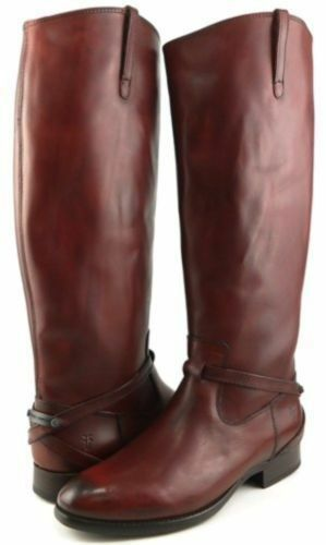 Frye Lindsay Brown Cognac Plate Riding Leather Boots NWT 9.5