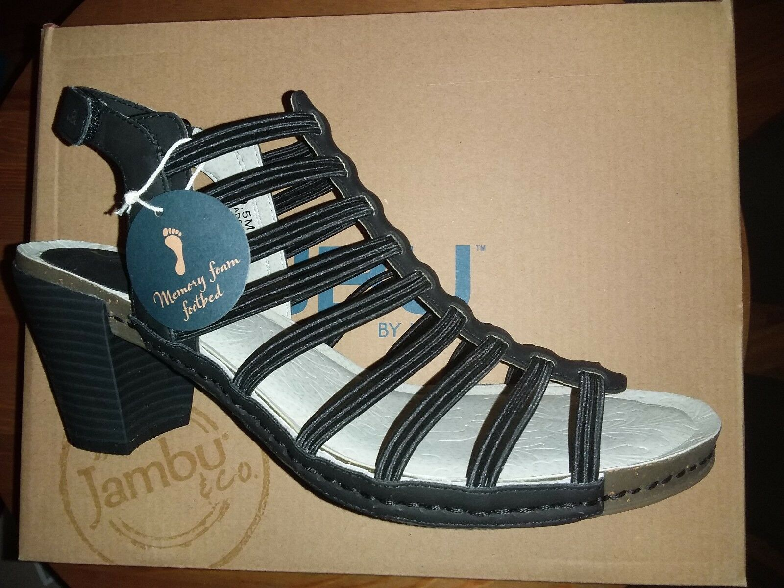 NEW JBU  Jambu black Women's Luna Heeled Sandals shoes VEGAN LEATHER SIZE 9.5 M