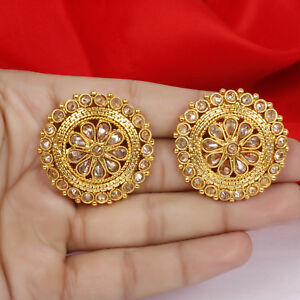 8cd7d5b49 Image is loading Traditional-Ethnic-Bollywood-Gold-Plated-Pearl-Stud-Tops-