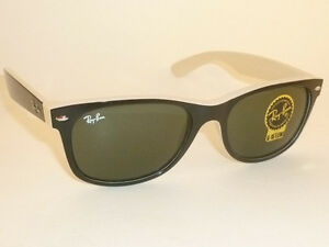 53e4126e5b New RAY BAN Sunglasses WAYFARER Top Black On Beige RB 2132 875 G-15 ...
