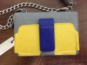 Case-Mate Kayla Lt Gray Blue Yellow Leather Clutch Crossbody Coin Card Phone Bag