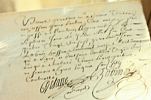 1697-LOUIS-XIV-royal-notary-signed-manuscript-nice-signatures-and-calligraphy