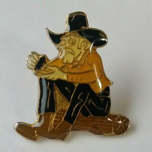 Cowboy Sitting On Log Lapel Hat Jacket Pin Vintage Enamel Hat & Boots