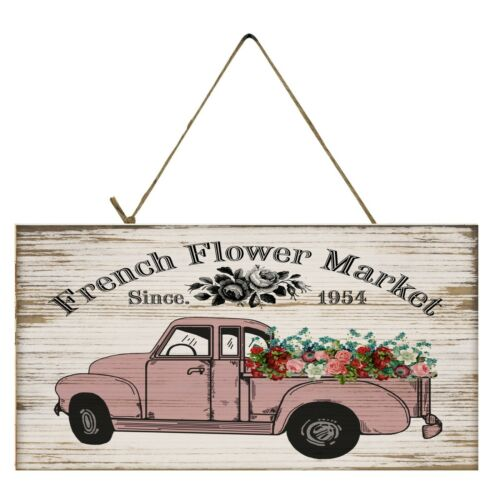 French Flower Market Vintage Truck Printed Handmade Wood Sign