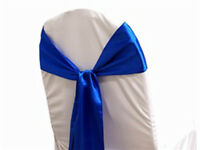 50 Royal Blue Satin Chair Cover Sash Bows Sashes Tie Wedding Party Decorations