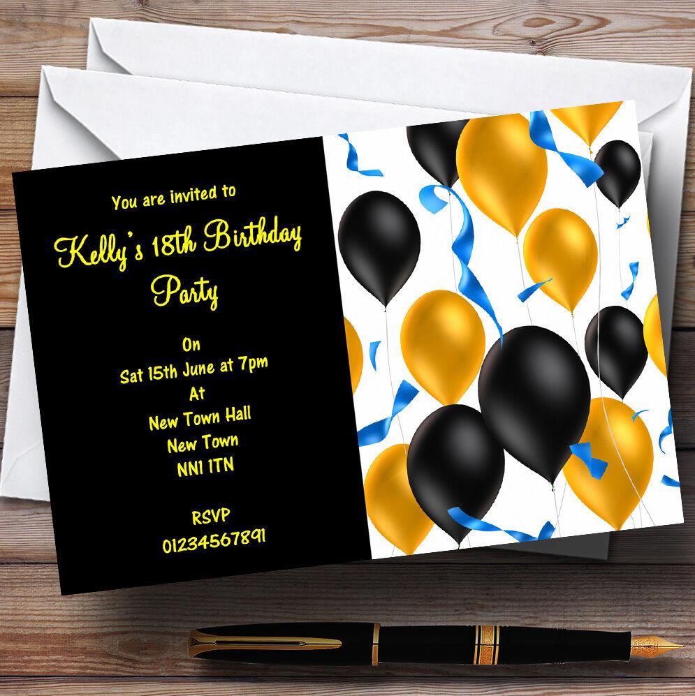 Black & Or  Ballons Fête Personnalisé invitations Fête Ballons 4aba28