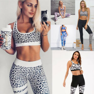 2PCS Women/'s Sport Gym Yoga Bra Vest Sports Legging Pants Outfit Wear Set HOT UK