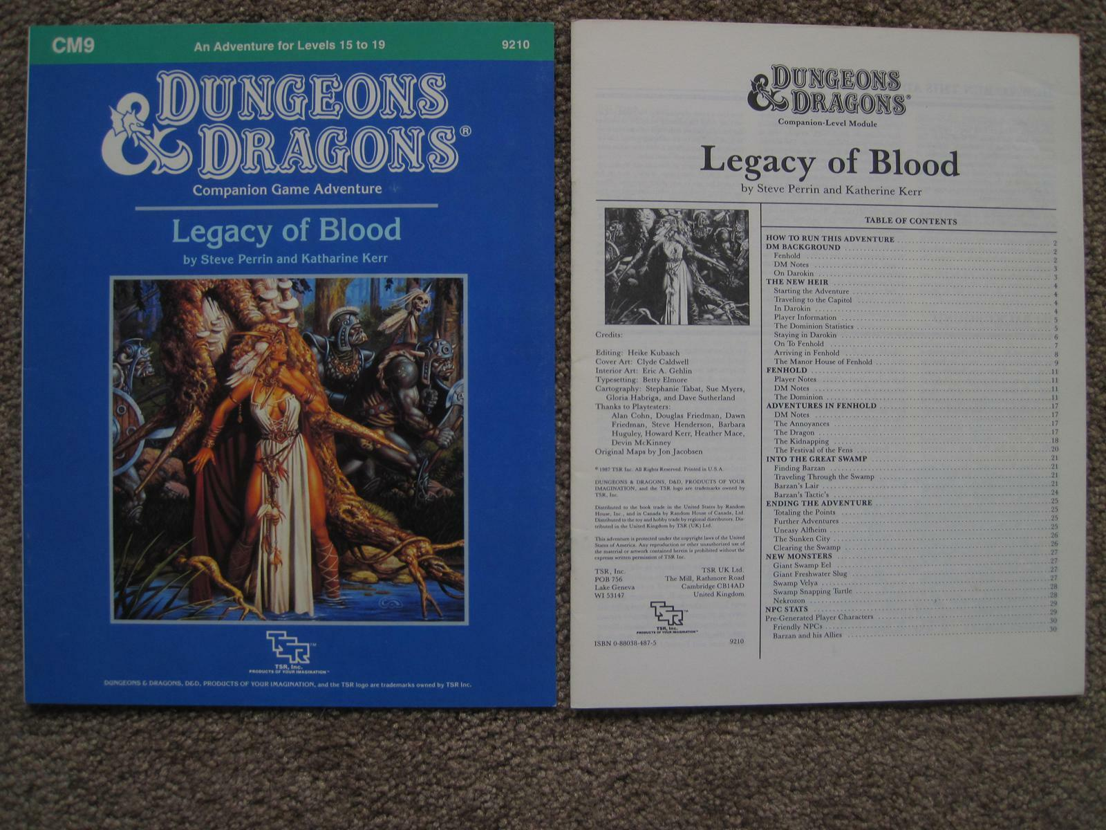 TSR 9210 D&D Dungeons and Dragons CM9 Legacy of Blood