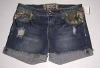 Truce Women's Destroyed Denim Jean Shorts Camo Lined Pockets Various Sizes