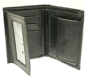 Soft-Black-Mens-Leather-Wallet-amp-Credit-Card-Holder-With-Coin-Storage