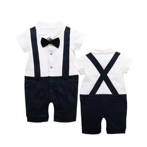 Cute Baby Boy Wedding Suits Tuxedo One Piece Bow Tie 6-30M Rompers Blouse