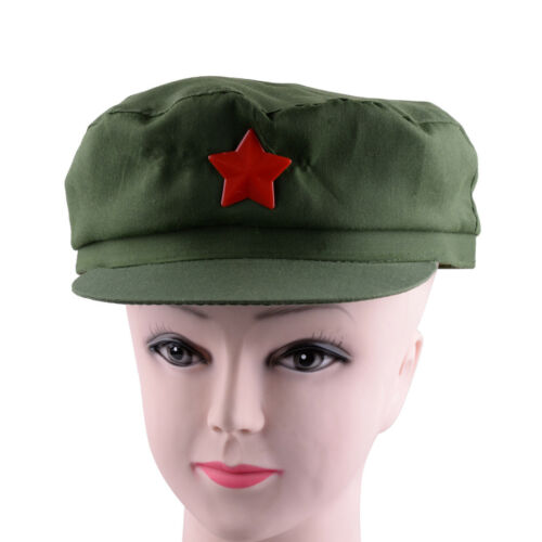 China Chairmen Mao PLA Red Army Soldier Green Star Cap Hat Vintage gift