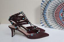 sz 6.5 / 37 Valentino Rolling Brown Leather Rockstud T-Strap Slingback Pump Shoe
