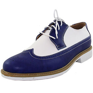 New men's shoes casual fashion lace up oxfords synthetic royal blue white prom